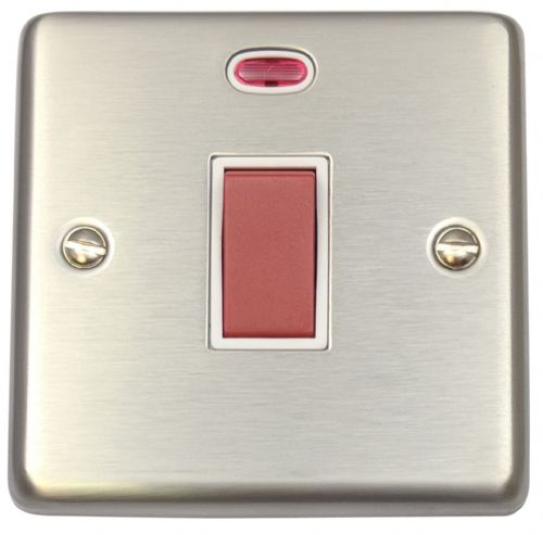G&H CSS46W Standard Plate Brushed Steel 45 Amp DP Cooker Switch & Neon Single Plate